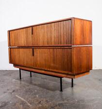 Mid Century Modern Credenza Set Tambour Door Barzilay Media Cabinet Vintage Pair