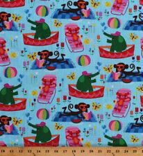 Cotton Animals Summer Fun Elephants Monkeys Aqua Cotton Fabric Print BTY M704.27