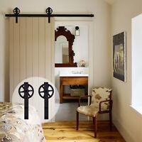 1.2-6m Tracks Wood Sliding Barn Door Hardware Hangers Kit for Interior Barn Door