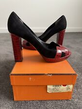 Breathtaking Hermes Crocodile & Suede Platform Heels In Black & Red-Size 39
