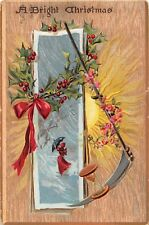 Hourglass, Scythe, Holly By Lady & Umbrella in Snow-1909 Tuck Christmas Postcard
