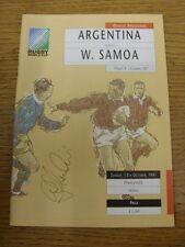 Programa de Unión de Rugby 13/10/1991: Copa del Mundo-Argentina V Samoa Occidental [at Pont
