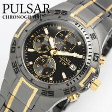 Mens New Pulsar Black Metal & Gold Plate Chronograph 100m Watch PF8413X1 Rp £180