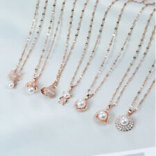 Woman 18K Rose Gold Plated Stainless Steel Simulated Diamond Chain Necklace
