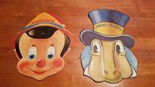 Vintage Gillette Pinocchio and Jiminy Cricket Masks w/ Original Bag, Disney 1939