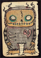 GUS FINK art ORIGINAL painting antique outsider lowbrow book page PURPLE MONSTER