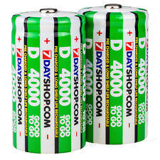 2 PK GOOD TO GO D Cell Pre-Charged NiMH Rechargeable Batteries 4000mAh