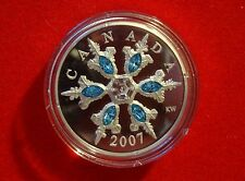 2007 Proof $20 Silver Blue Swarovski Crystals Snowflake Piedfort - No Tax