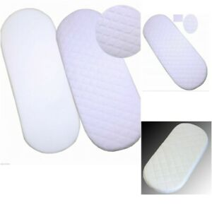 Baby Crib / Moses Basket Bed Foam MATTRESS with Quilted Breathable Round Corners