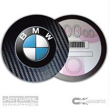 Magnetic Tax Disc Holder - BMW Badge Logo - VW AUDI VAG - Carbon Fibre Edge