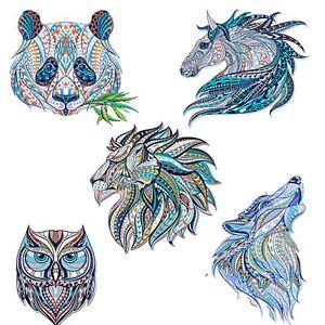 Animal head Heat Transfer decal art wolf lion horse owl panda iron on sticker