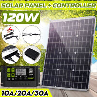 120W Flexible Solar Panel Dual USB Charger Controller Mono Cable Battery Kit ❤