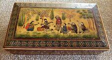19TH CENTURY PERSIAN HAND INLAID BOVINE BONE BOX WITH HAND PAINTED FIGURES