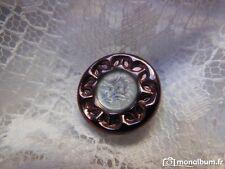 bouton ancien en verre vintage marron métallisé coeur nuageux  1,8 cm G2J