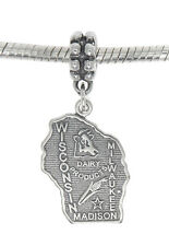 STERLING SILVER TRAVEL STATE MAP OF WISCONSIN DANGLE EUROPEAN BEAD CHARM