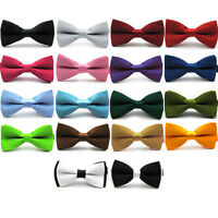 Mens Ready Pre Tied Plain Bow Tie Smart Formal Bowtie Wedding Neck Ties Neckties
