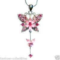 Swarovski ashling crystal flower pendant ebay w swarovski crystal bridal wedding pink butterfly flower charm pendant necklace mozeypictures Choice Image