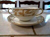 Nippon Hand Painted Bouillon Cup and Saucer Gold Encrusted