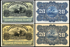 !COPY! 2 PUERTO RICO 20 PESOS 1901-1904 BANKNOTES !NOT REAL!