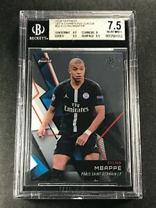 KYLIAN MBAPPE 2018 TOPPS FINEST CHAMPIONS LEAGUE #50 ROOKIE RC NM+ BGS 7.5 (A)