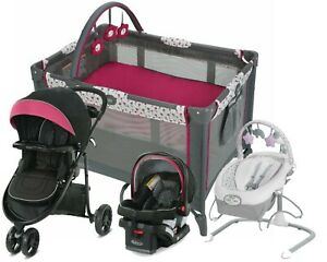 Baby Travel System Stroller with Car Seat Playard Graco Swing Rocker Combo
