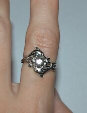 ARTISAN 14 K GOLD AND CHALCEDONY DOLPHINS RING SIZE 7