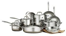 Members Mark Tri Ply Clad 14Pc Cookware Set Mirror Polished Stainless Steel Lids