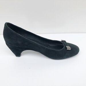 Django & Juliette 36 5 Pardon Black Suede Leather Upper Low Heels Pumps