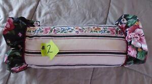 Vintage 1989 J F Stevens black cottagecore roses floral ruffle neck pillow #2