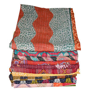 Indian Handmade Kantha Quilt Twin Size Bedspread Cotton Floral Bedding Cover let