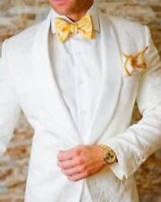 Men 3Pcs White Jacket Jacquard Paisley Groom Tuxedos Wedding Dinner Prom Suit