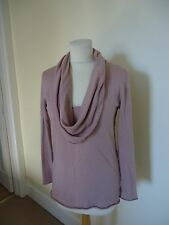 MARC CAIN DUSKY PINK WOOL, SILK AND CASHMERE COWL NECK JUMPER