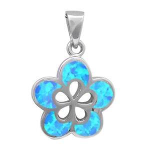 Blue Opal Plumeria .925 Sterling Silver Pendant