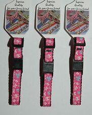 Hot Pink Butterflies Designer Break Away Safety Cat Collar - 15-25cm