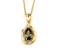 Noble Jewel Peridot 925 Sterling Silver With Gold Pendant Necklace