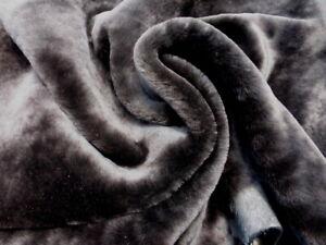 sheepskin shearling leather hide DeepDark Brown Silky Hair w/Matching Suede back