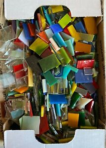 MIXED SAMPLER Stained Glass Mosaic Scrap Pack, about 2lbs Hand Cut PIECES