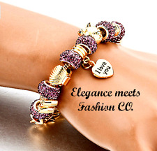 Stunning Gold Plated Purple Crystal Bracelet