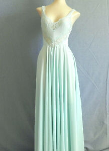Vtg Olga Night Gown Maxi Swing Fit-Flared Sleeveless Light Green Size XS/S