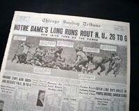 NOTRE DAME Fighting Irish vs. Northwestern FOOTBALL Knute Rockne 1929 Newspaper