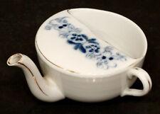 Antique INVALID FEEDER Porcelain China PAP BOAT Cup FLOW BLUE / Civil War Era