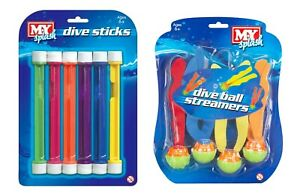 Swimming Diving Toys - 10 Piece Set - Dive Weights & Sea Weed Streamers