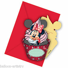 6 Disney Minnie Mouse Cafe Happy Birthday Party Invitations Invites & Envelopes