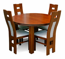 Designer Tisch + 4 Stühle Garnituren Komplett Wohnzimmer Esszimmer Rundtisch Set