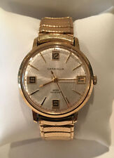 VINTAGE CARAVELLE MENS GOLD TONE WATCH W/DATE 1960's ONE OWNER Very Good Cond