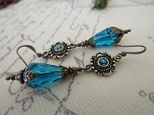VINTAGE STYLE DANGLE DROP EARRINGS AQUA PEACOCK BLUE - STEAMPUNK