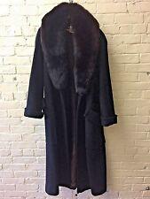 Vtg Harve Benard coat 12 Sheath Long Wool Wrap Fur Collar BIG Pockets Thick Warm