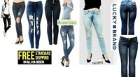 Lucky BRAND & MIX Juniors WOMENS Skinny Ripped Distressed JEANS Denim Stretch