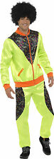 Retro Shell Suit Mens Yellow Fancy Dress 80s Tracksuit Costume XL