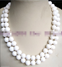 AAA Natural 10mm White Carving Coral Gemstone Necklace Bead Long 36''